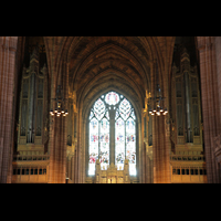 Liverpool, Anglican Cathedral, Orgelprospekt in Richtung Langhaus